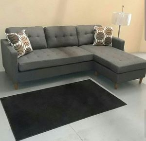Brand New Reversible Grey Linen Sectional Sofa Couch for Sale in Silver Spring, MD