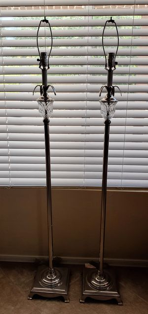 """Pair of Matching Crystal GlobedChrome 50"""" Floor Lamps for Sale in Queen Creek, AZ"""