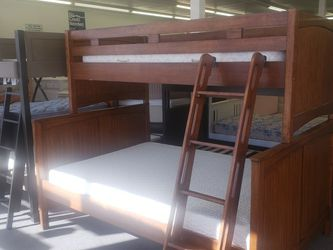 BUNK BED WITH MATTRESS FULL/TWIN 🎈🎈🎈CAMAS DE VENTA for Sale in Denver,  CO