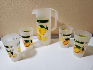 Vtg Lemonade Frosted Plastic Pitcher & Tumbler Set for Sale in Daggett, CA