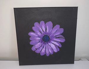 Purple flower painting on stretched canvas for Sale in Gainesville, VA