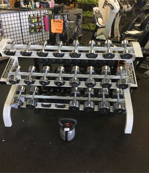 Chrome Dumbbell weight set 3 to 50 pounds with for commercial maxicam rack (missing 35s) 526 total lbs for Sale in Phoenix, AZ