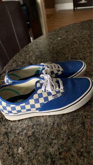 Blue checkered vans, size 8 in men, size 9.5 in women's for Sale in Portland, OR