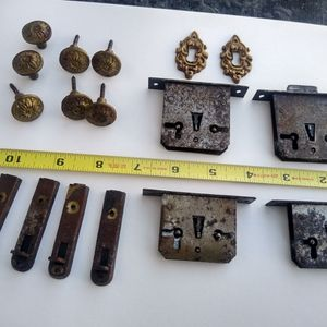 VINTAGE HARDWARE LOCKS DOOR PULLS COVERS 1920'S CABINET for Sale in Venice, FL