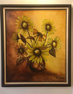 Large original signed Paul Richards Mid Century Modern Oil Painting Sunflowers for Sale in Tempe, AZ