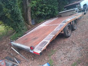 Homemade 20ft drive over trailer with diamond plate side,lights and tool box with winch for Sale in Ridgefield, WA