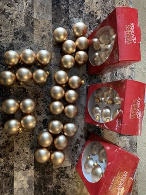 Almost 8 Complete Boxes (short 2) Of Matte Gold Christmas Ornaments from Belk Berry. All Solid Matte Gold Color. Great Deal for a Gold Theme This Ch for Sale in Clayton, NC