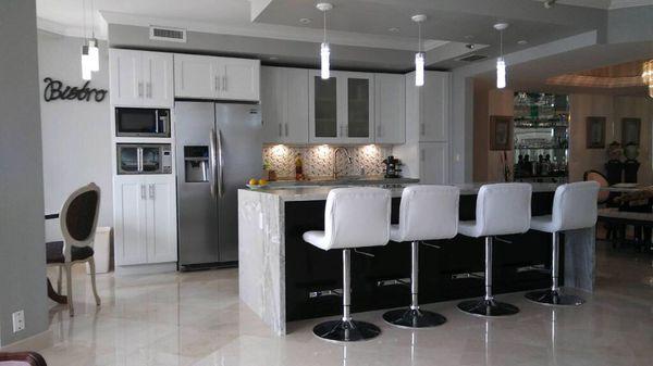 Wood kitchen cabinets.