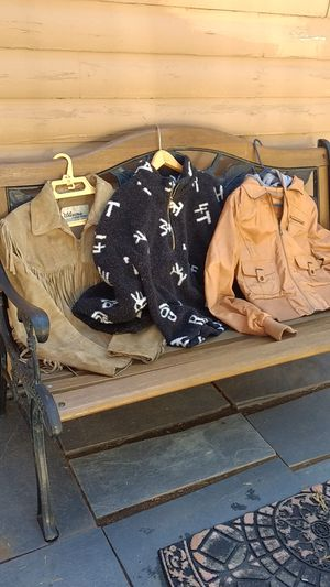 Price for all 3 size medium genuine leather and fleece jackets for Sale in Bailey, CO