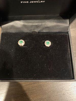 Emerald (3/8/) diamond Accent stud earrings in 14K gold for Sale in San Jose, CA
