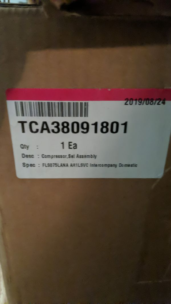 lg univerersal compressor P/N TCA38091801 NEW!!! fits most LG refrigerators