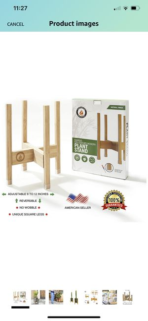 Plant Stand Indoor. Adjustable for Plant Holder 9-12 inches Wide. 14 inch Tall Plant Stand. Natural Bamboo Flower Stand for Indoor Planter. Perfect for Sale in Dover, DE