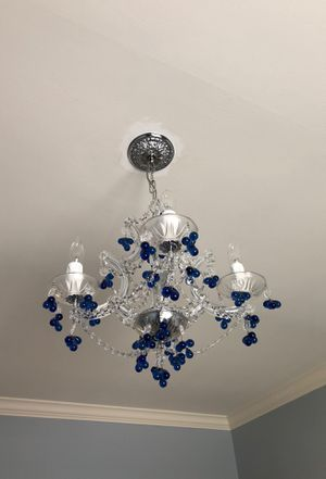 Five light jeweled crystal chandelier for Sale in Houston, TX