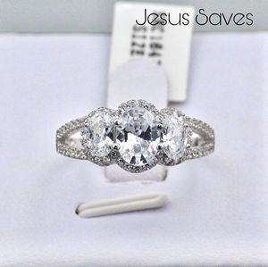 S925 Halo Oval CZ Ring Size 5/6/8 SRC16471 for Sale in Fresno, CA