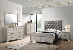 4PC QUEEN BRAND NEW STERLING SILVER BEDROOM SET: QUEEN BED FRAME, DRESSER, MIRROR, NIGHTSTAND for Sale in Antioch, CA