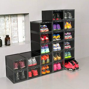 2 pcs. Shoes Box Plastic Stackable Sneaker Container Storage Heavy Duty Organizer NEW for Sale in Coronado, CA
