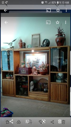 Entertainment Centers Solid Oak Wood 4 heavy pieces, Glass Doors and Shelving, lots of storage *Pick Up in Surprise* Still Available for Sale in Sun City, AZ
