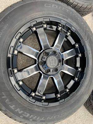 "New 20"" Black Rhino Rims and Continental tires 6 Lug wheels Chevy GMC Rines y llantas Chevrolet Silverado Tahoe Avalanche GMC Sierra Yukon suburban D for Sale in Dallas, TX"
