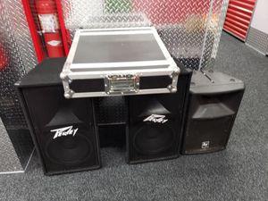 Amplifier QSC.+ 2 speakers Peavey 500w,each channel plus 1 ,passive speaker EVE 500W. for Sale in New York, NY