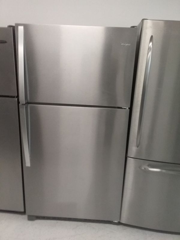 Whirlpool top and bottom stainless steel refrigerator used good condition 90days warranty
