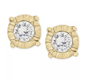 1/4 ct diamonds 10k gold with 24k gold locking earring backs (with 24k gold locking mechanism). Comes with box for earring backs and earrings. for Sale in Cupertino, CA