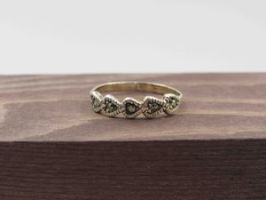 Size 8 Sterling Silver Heart Marcasite Gem Band Ring Vintage Statement Engagement Wedding Promise Anniversary Bridal Cocktail Friendship for Sale in Lynnwood, WA