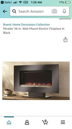 Mirador 36 in. Wall-Mount Electric Fireplace in Black for Sale in Rochester,  WA