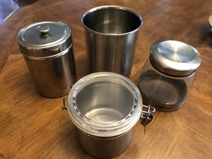 4 PCS Stainless Steel/Glass Kitchen or Craft Storage Containers. $10 for all, cash at pickup in Apex for Sale in Apex, NC