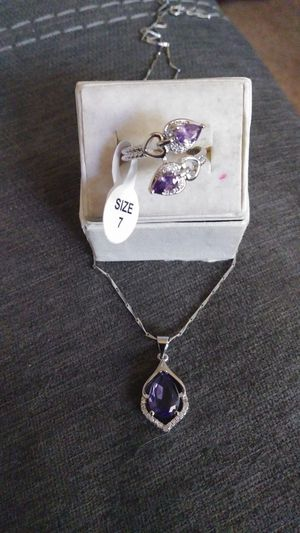 New Amethyst .925 sterling Silver ring size 8 and necklace for Sale in Owatonna, MN