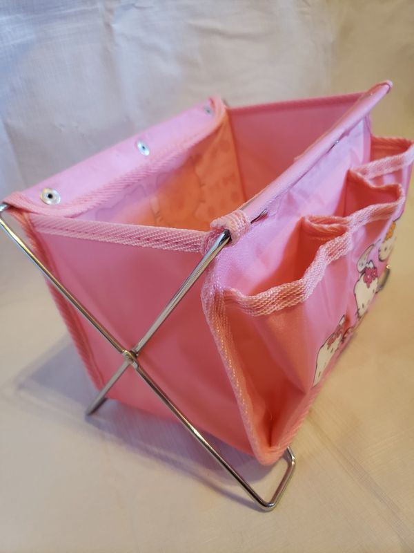 HELLO KITTY STORAGE FOLDABLE BASKET WITH 3 POCKETS 12 IN BY 10 IN PLUS POCKETS