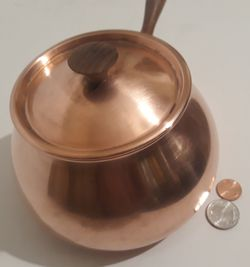 """Vintage Metal Copper and Brass Cooking Pot, Lid, Wooden Handle, Made in Portugal, 11"""" Long and 6"""" x 3 1/2"""" Pan Size, Home Decor, Shelf Display for Sale in Lakeside,  CA"""