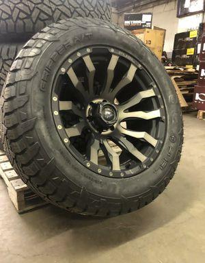 "20x10 Fuel D674 Blitz Black DDT Wheels Rims 33"" AT Tires 5x5.5 Dodge Ram 1500 for Sale in Tampa, FL"