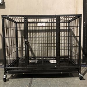 ✅Brand new double door stackable HD heavy duty kennel cage,plastic tray removable divider and wheels, sealed box 🐕 see dimensions for each level in for Sale in Bridgeport, CT