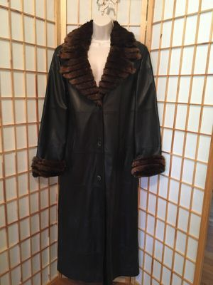 Soft shell leather trench coat with mink collar for Sale in Columbus, OH