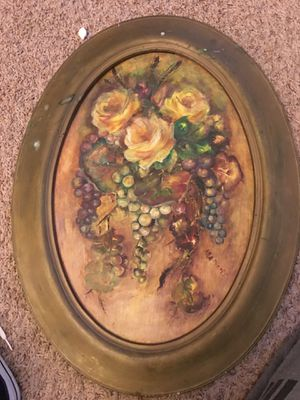 VTG Gorgeous Roses & Grapes Wall-Hanging Hans-Painted on Wood for Sale in Norman, OK