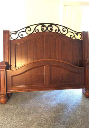 California King Solid Wood Bed Frame with Wrought Iron Accent for Sale in Centennial, CO
