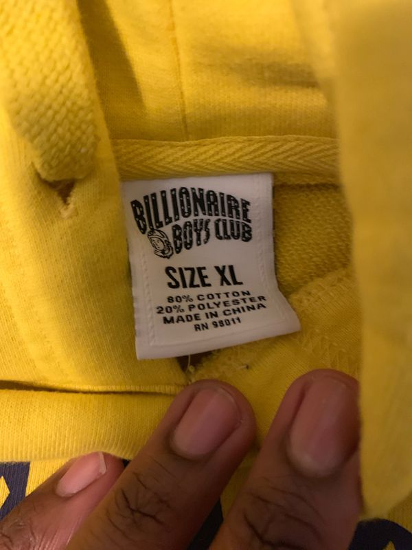 Yellow & blue BILLIONAIRE BOYS CLUB hoodie size XL