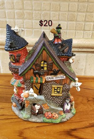 Haunted House & beautiful Rae Dunn pillows. Also PierOne votive pumpkin, doormat & floral candelabra for Sale in Rocklin, CA