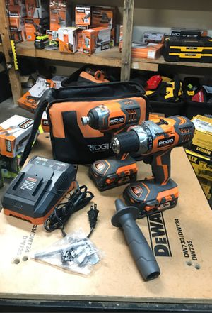 RIDGID 18-Volt Lithium-Ion Cordless Drill/Driver and Impact Driver 2-Tool Combo Kit with (2) 2.0 Ah Batteries, Charger, and Bag for Sale in Fontana, CA