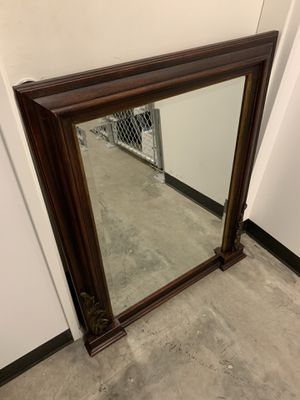 Antique mirror with cappuccino wood trim for Sale in Portland, OR