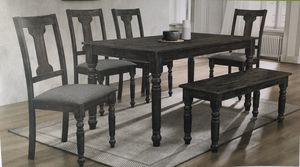 Antique black 6pc Dining Table Set includes bench for Sale in San Bernardino, CA