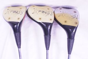 "3 PING GOLF CLUBS 42"" EZ Lite 1 3 & 5 Wood Woods Karsten III RH Right Hand Range Vintage for Sale in West Hollywood, CA"