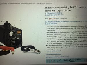 Chicago electric Inverter/Plasma Cutter 240 volt with Cart and Welding Helmet for Sale in Ridgefield, WA