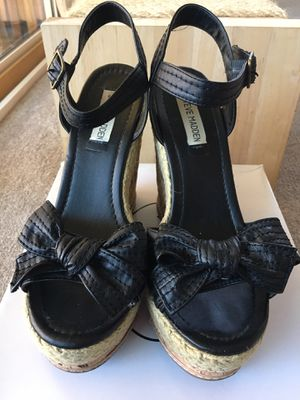 Steve Madden Black Bow Tie Cork Wedges for Sale in Fullerton, CA