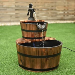 """Wood Barrel Water Fountain 23""""H Garden Fountains Waterfall Pump Electric Wooden for Sale in Rio Linda, CA"""