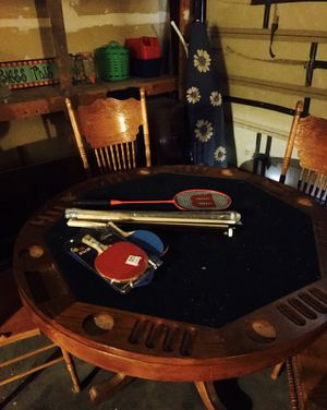 Poker table with chip holders and drink holders. Also has cover for pool and foozeball for Sale in Las Vegas, NV