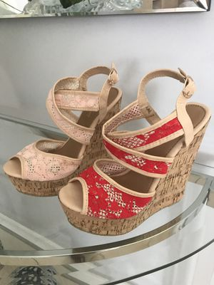 New Pink or Red laces Wedges Sandals new in box for Sale in Miami, FL