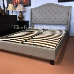 Queen Gray Fabric Bed Frame for Sale in San Diego,  CA