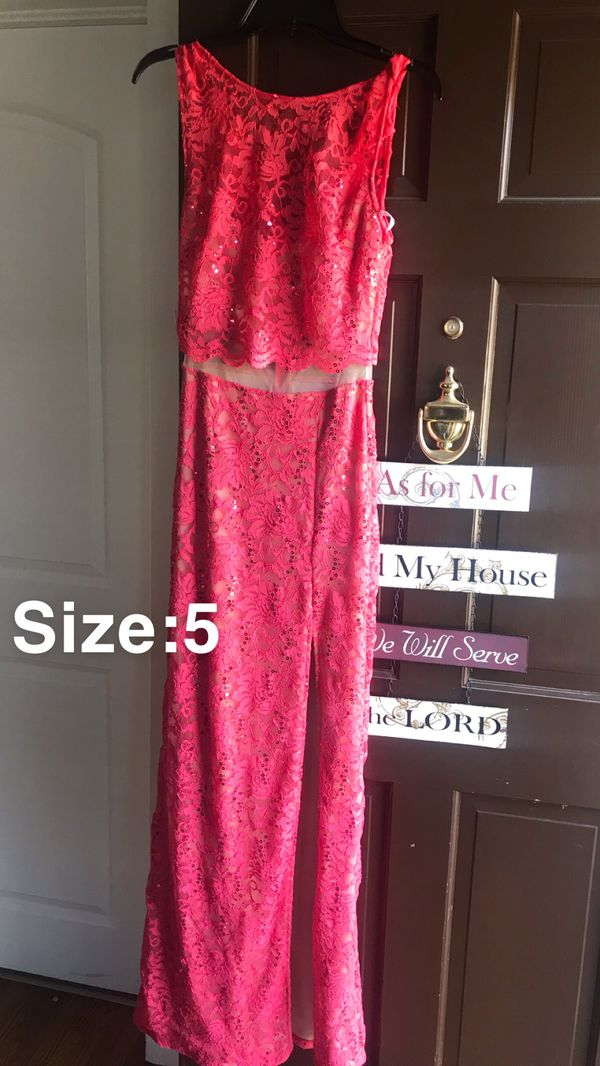 Pink sheer prom dress with a slit on the side