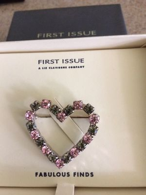Liz Claiborne heart brooch with pink and grey crystals. for Sale in Nashville, TN